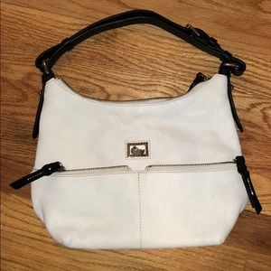 Dooney and Bourke white leather purse black handle
